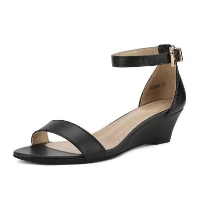 レディース 衣類 トップス Women Low Wedge Heel Sandals Open Toe Ankle Strap Buckle Lady Work Casual Shoes INGRID BLACK/PU Size 5