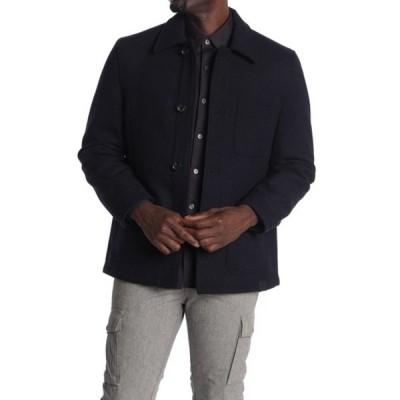 マイケルコース メンズ ジャケット&ブルゾン アウター Melton Button Front Utility Jacket MIDNIGHT B