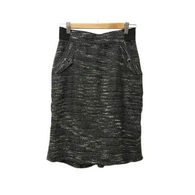 【中古】ローズバッド ROSE BUD スカート タイト ひざ丈 総柄 2 白 黒 ホワイト ブラック レディース 【ベクトル 古着】