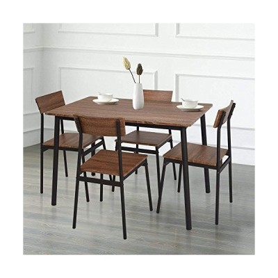 KARMAS PRODUCT 5 Piece Wood Dining Table Set Home Kitchen Table and Chairs for 4 Person with Metal Legs,Retro Brown