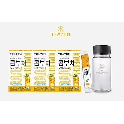 TEAZEN KOMBUCHA CITRON YUZA Powder Stick 紅茶キノコシトロンユウザパウダースティック 5g X 30Pcs(1Box)+ボトルダイエット韓国製