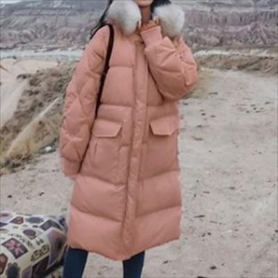 トレンド 冬物 売れ筋 中綿コート フードファー ロングコート ラグランスリーブ 膝丈 袖リブ ゆったり 厚手 暖か hf010