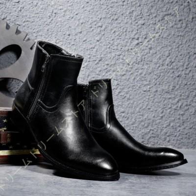 ブーツ 脱ぎ履き楽々 シューズ 靴 サイドジップブーツ メンズ 紳士靴 男性用 プレーントゥ 短靴 ビンテージ ヴィンテージ ファッション 革靴 男性用 英倫風