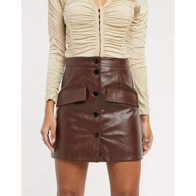 エイソス レディース スカート ボトムス ASOS DESIGN leather look button through mini skirt in brown Brown