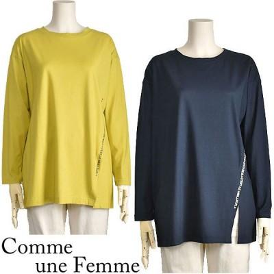 カットソー レディース ロング 長袖 おしゃれ スリット tシャツ Comme une Femme 40代 50代 送料無料