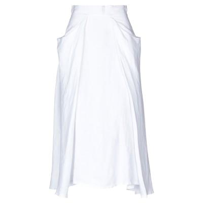 SAINT TROPEZ 7分丈スカート ホワイト 44 麻 100% 7分丈スカート