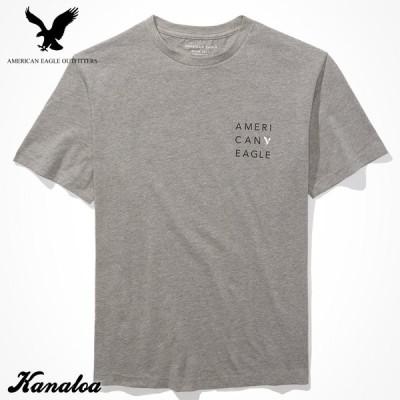 アメリカンイーグル Tシャツ 半袖 メンズ ロゴ プリント グラフィック クルーネック グレー 大きいサイズあり