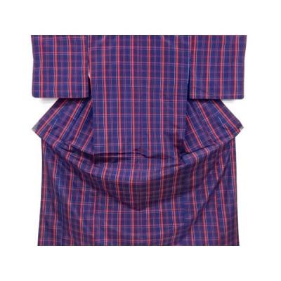 リサイクル 格子織り出し米沢紬着物アンサンブル