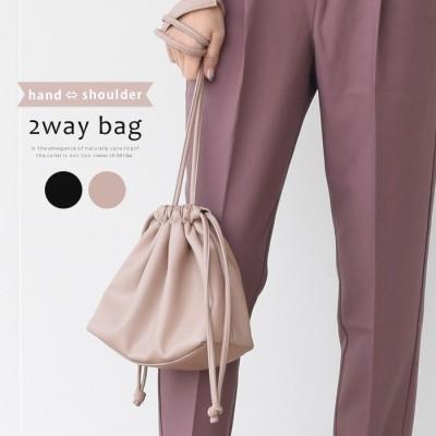 aquagarage コンパクトなのにしっかり収納♪ミニ巾着ショルダーバッグ ピンク フリー レディース
