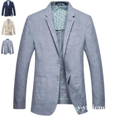 テーラードジャケット メンズ 綿麻リネン ビジネス フォーマル コート 春夏 通気性 薄手 ブルゾン