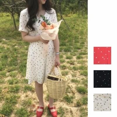 リゾートワンピース ワンピース リゾート 韓国 ファッション  春 夏 新作 カジュアル naloB722  ハートドット カシュクール フレア ミデ