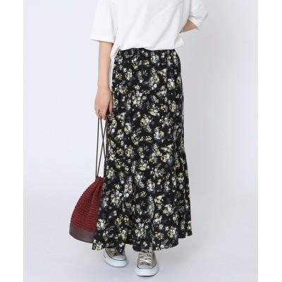 【コーエン】 マーメイドプリントスカート レディース ブラック FREE coen