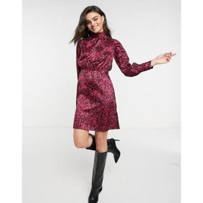 クローゼットロンドン レディース ワンピース トップス Closet London high neck twist satin mini dress in animal print Berry/black