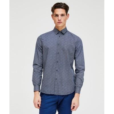 【シスレー】 総柄レギュラーシャツ メンズ カーキ XL (国内XL相当) SISLEY