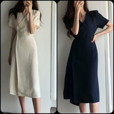 シンプルデザイン 大人可愛いロングドレス ワンピース 無地 Vネック こなれ感 体型カバー 半袖 夏 お出かけ