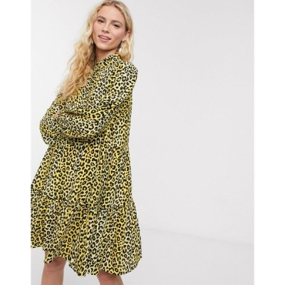 ノーツドゥノルド ミディドレス レディース Notes Du Nord olivia leopard print mini shirt dress in lemon leopard エイソス ASOS