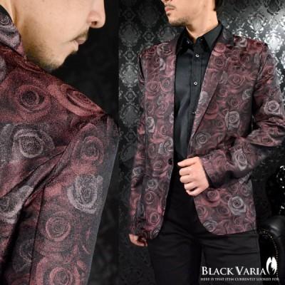 BlackVaria テーラードジャケット 花柄 薔薇柄 光沢 日本製 ステージ 衣装 ジャケット メンズ(ワイン赤レッド) 181201