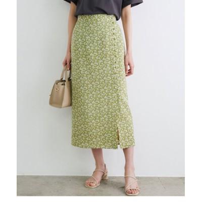 フラワープリントくるみ釦ラップスカート