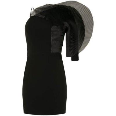 イザベルサンチ ワンピース パーティドレス レディースIsabel Sanchis pleated fan detail mini dressBlack
