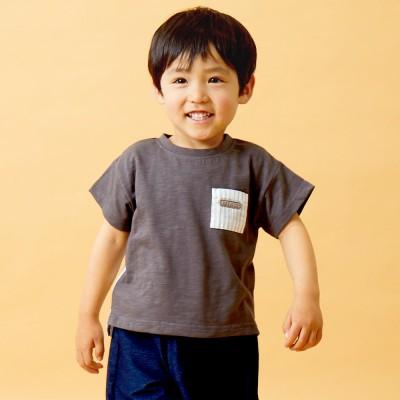 ベビーザらス限定 RAT-A-TAT 先染めサッカー 切替 半袖Tシャツ(チャコール×80cm)
