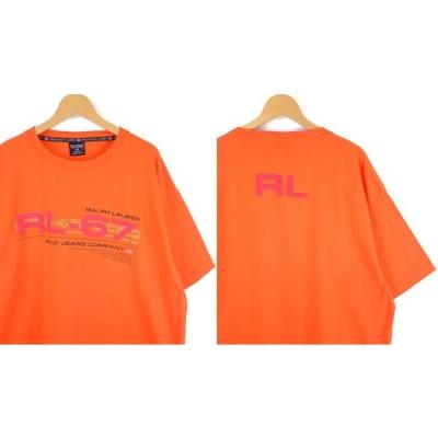 古着 大きいサイズ ポロジーンズ ラルフローレン RL-67 クルーネック 半袖プリントTシャツ USA製 1990年代 メンズ US-XLサイズ オレンジ系 hs-8609