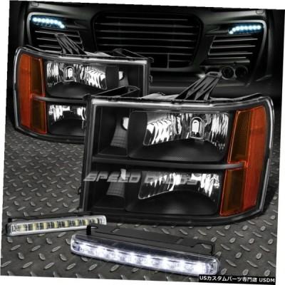 グリル BLACK LENSヘッドライト+ AMBER CORNER + 07から14 GMC SIERRA FOR 8 LED GRILL FOG LIGHT BLACK LENS HEADLIGHT+AMBER CORNER+8 LED GRILL FO
