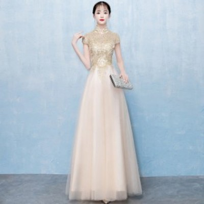 金色 イブニングドレス ロング チャイナドレス Aライン 着痩せ 体型カバー 袖あり パーティードレス キレイめ 二次会ドレス お呼ばれドレ
