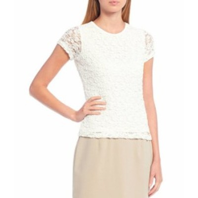 カルバンクライン レディース Tシャツ トップス Petite Size Short Sleeve Lace Tee Cream