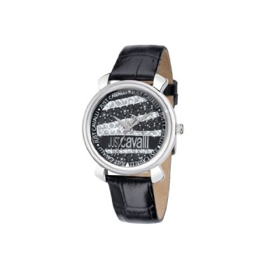 Just Cavalli Ladies Glam Analogue Watch R7251179515 with Quartz Movement, Leather Bracelet and Black Dial 並行輸入品