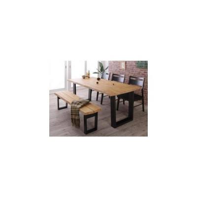 ダイニングテーブルセット 6人用 椅子 ベンチ おしゃれ 5点 (机+チェア3+長椅子1) ベンチ3P 幅180 西海岸 ヴィンテージ インダストリアル レトロ 無垢 大きい