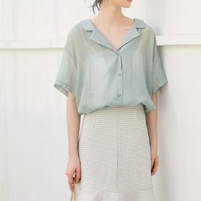 トレンド 春夏物 売れ筋 シャツ ブラウス バックコンシャス 半袖 無地 ゆったり トレンド カジュアル こなれ感 kk1195