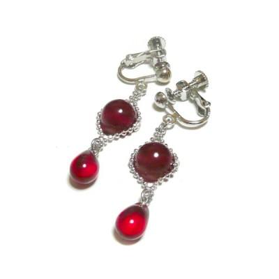 【人魚姫の涙】ルビーと赤い琥珀のイヤリング