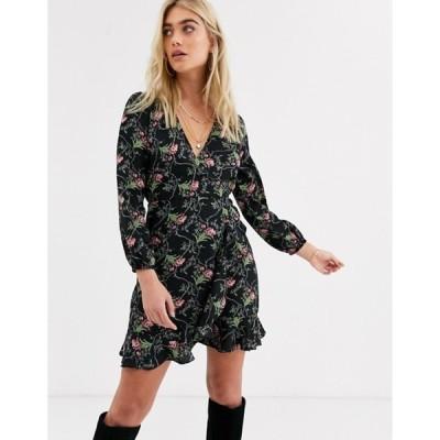 アックスパリ レディース ワンピース トップス AX Paris long sleeve mini dress in floral