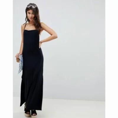 エイソス ワンピース ASOS DESIGN cowl back column maxi dress Black