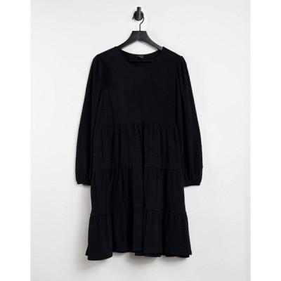 モンキ レディース ワンピース トップス Monki Mino long sleeve tiered mini smock dress in black