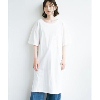 【ハコ】 1枚で着ても重ね着もかわいいビッグTシャツワンピース レディース ホワイト L haco!