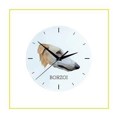 【新品 送料無料】Borzoi, Wall Clock with an Image of a Dog, Geometric
