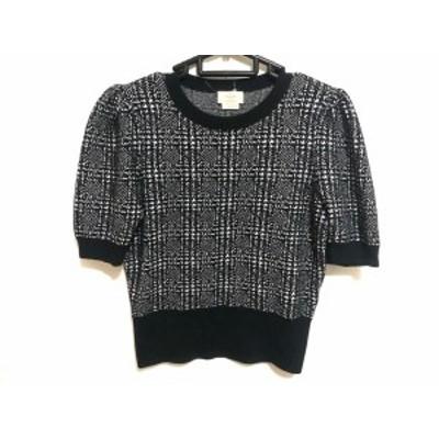 ケイトスペード Kate spade 半袖セーター サイズS レディース - 黒×白【中古】20200607