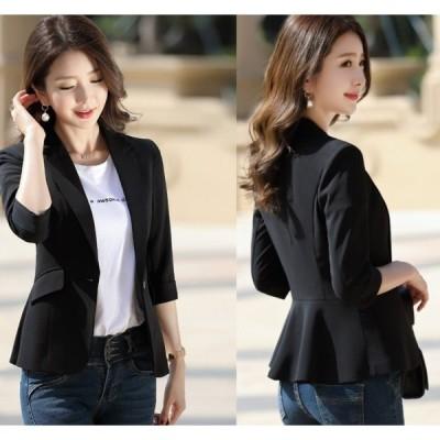 サマージャケット ブラック オフィス 大きいサイズ 夏 30代 スーツジャケット レディース 着痩せ 通勤 OL 40代 テーラードジャケット 7分