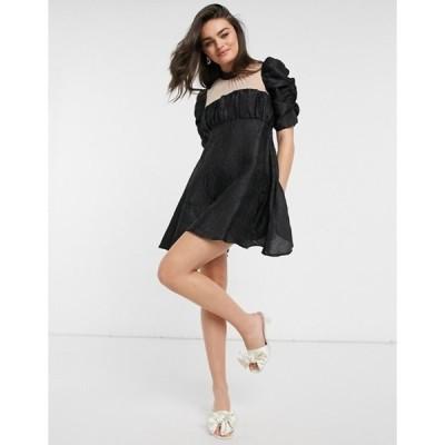 エイソス レディース ワンピース トップス ASOS DESIGN babydoll mini dress with sheer yoke in jacquard in black