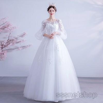 ウェディングドレス 袖あり 花嫁ドレス 結婚式 プリンセスドレス パーティードレス ブライダル フォーマル お呼ばれ コンサート 2020新作【sssnetshop】