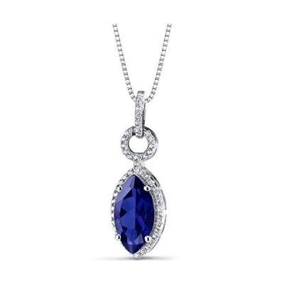 Created Blue Sapphire Marquise Pendant Necklace Sterling Silver 3.75 C