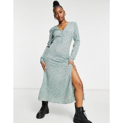 ミスガイデッド レディース ワンピース トップス Missguided midi tea dress in green dalmatian print Green