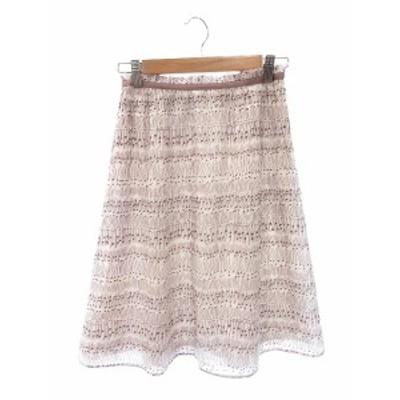 【中古】ノーリーズ Nolley's スカート フレア ひざ丈 総柄 36 エンジ /ST レディース
