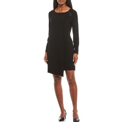 ミンウォン レディース ワンピース トップス Long Sleeve Asymmetric Embellish Draped Dress Black