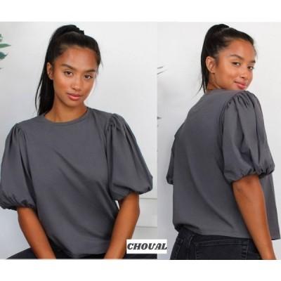 Tシャツ 半袖 ASOS ウォッシュ加工 パフスリーブTシャツ