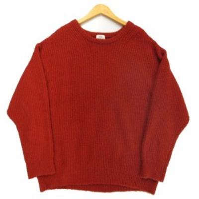 【中古】コーエン coen ニット セーター 長袖 厚手 もこもこ オレンジ系 M メンズ