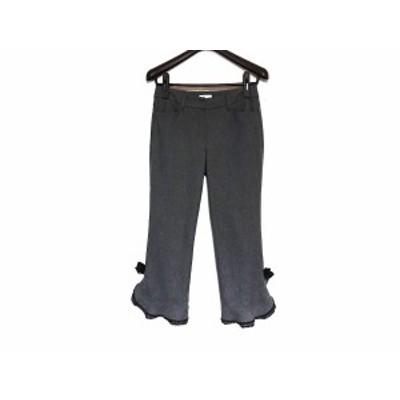 トゥービーシック TO BE CHIC パンツ サイズ38 M レディース 美品 - グレー×黒 クロップド(半端丈)/リボン/フリル【中古】20201226