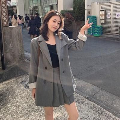 テーラードジャケット セットアップ レディース セットアップ ジャケット 韓国 セットアップ ミニスカート プリーツスカート 秋冬 カジュ