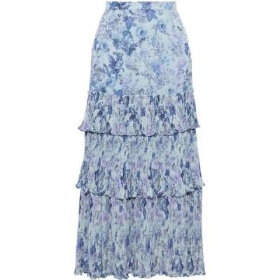 アムール AMUR レディース ひざ丈スカート ティアードスカート スカート kola tiered floral-print plisse-georgette midi skirt Light blue